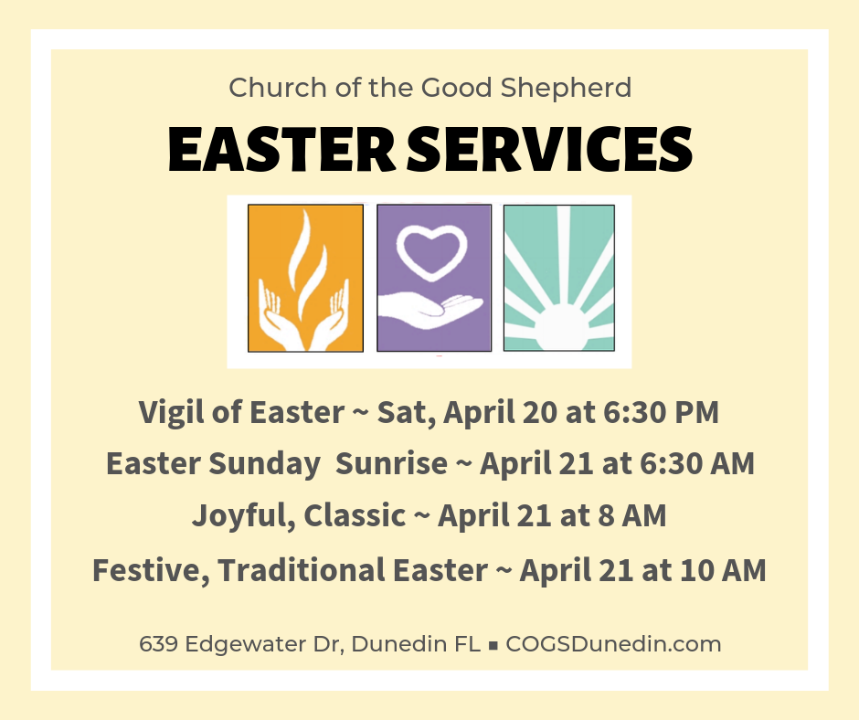Easter Sunday Services at 6:30 AM, 8 AM, ad 10 AM. Egg hunt to follow 10 AM service on the playground.