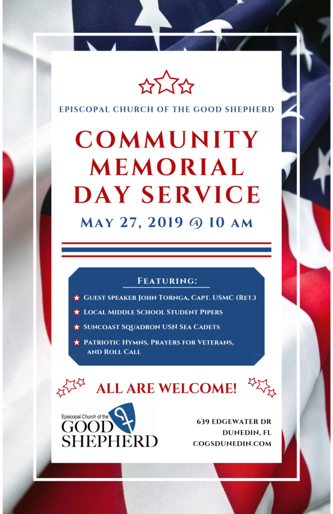 Memorial Day Services, poster with event details